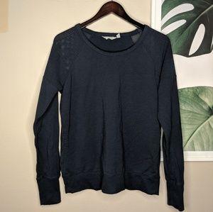 Athleta Mesh Sweater Pullover Navy Blue